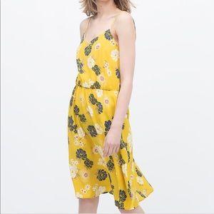 ZARA oriental floral print midi dress